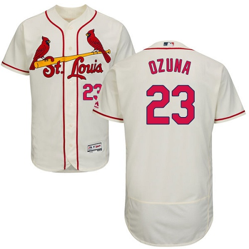 Cardinals #23 Marcell Ozuna Cream Flexbase Authentic Collection Stitched MLB Jersey