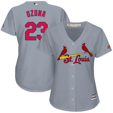 Cardinals #23 Marcell Ozuna Grey Road Women's Stitched MLB Jersey