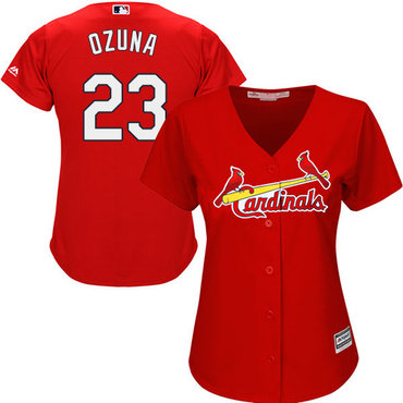 Cardinals #23 Marcell Ozuna Red Alternate Women's Stitched MLB Jersey