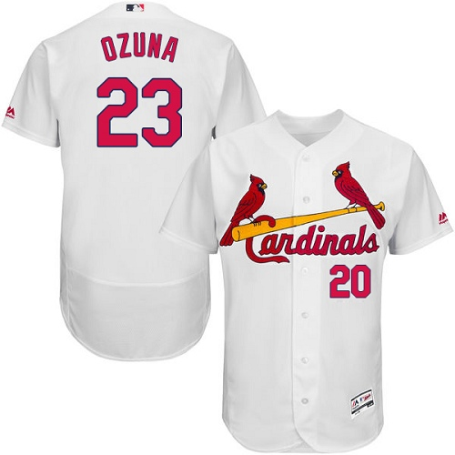 Cardinals #23 Marcell Ozuna White Flexbase Authentic Collection Stitched MLB Jersey