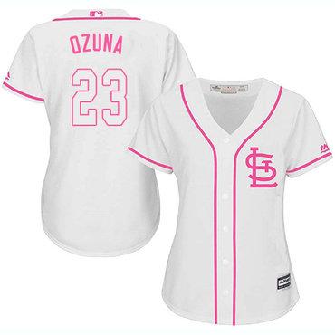 Cardinals #23 Marcell Ozuna White Pink Fashion Women's Stitched MLB Jersey