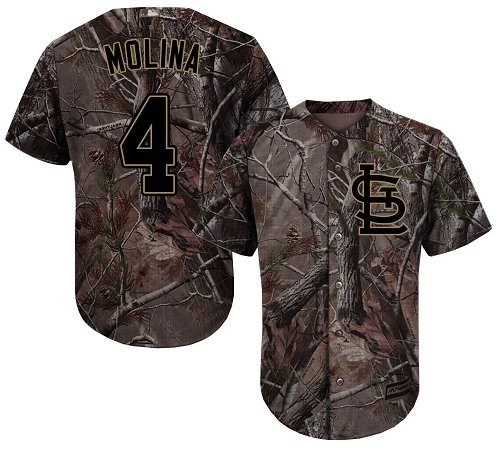 Cardinals #4 Yadier Molina Camo Realtree Collection Cool Base Stitched Youth Baseball Jersey