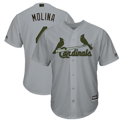 Cardinals #4 Yadier Molina Grey New Cool Base 2018 Memorial Day Stitched Baseball Jersey