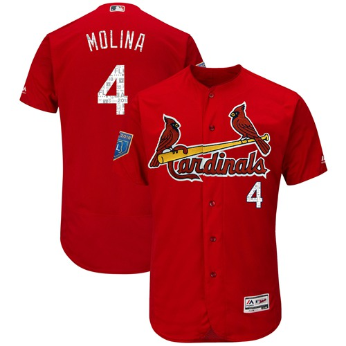 Cardinals #4 Yadier Molina Red 2018 Spring Training Authentic Flex Base Stitched MLB Jersey