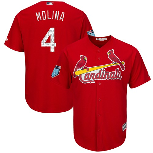 Cardinals #4 Yadier Molina Red 2018 Spring Training Cool Base Stitched MLB Jersey