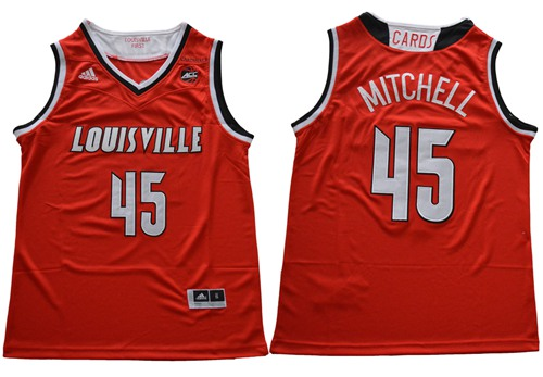 Cardinals #45 Donovan Mitchell Red Basketball Stitched NCAA Jersey