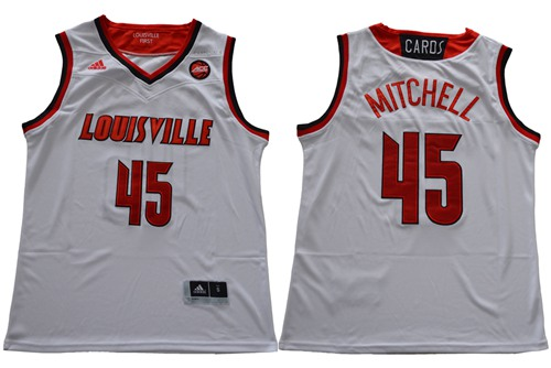 Cardinals #45 Donovan Mitchell White Basketball Stitched NCAA Jersey