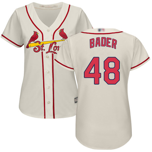 Cardinals #48 Harrison Bader Cream Alternate Women's Stitched Baseball Jersey