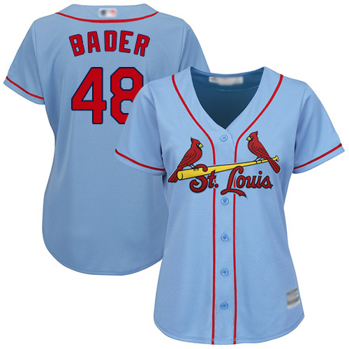Cardinals #48 Harrison Bader Light Blue Alternate Women's Stitched Baseball Jersey