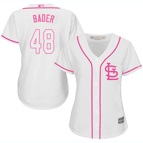 Cardinals #48 Harrison Bader White Pink Fashion Women's Stitched Baseball Jersey