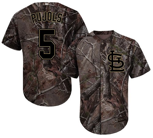 Cardinals #5 Albert Pujols Camo Realtree Collection Cool Base Stitched Baseball Jersey
