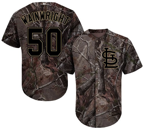 Cardinals #50 Adam Wainwright Camo Realtree Collection Cool Base Stitched Youth Baseball Jersey