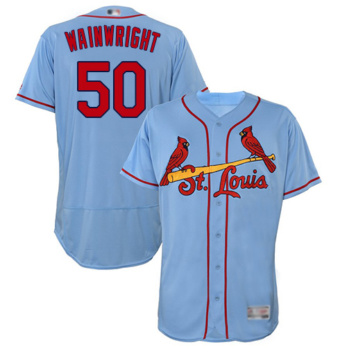 Cardinals #50 Adam Wainwright Light Blue Flexbase Authentic Collection Stitched Baseball Jersey