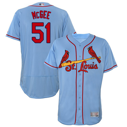 Cardinals #51 Willie McGee Light Blue Flexbase Authentic Collection Stitched Baseball Jersey