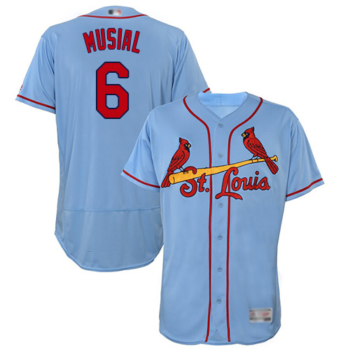 Cardinals #6 Stan Musial Light Blue Flexbase Authentic Collection Stitched Baseball Jersey