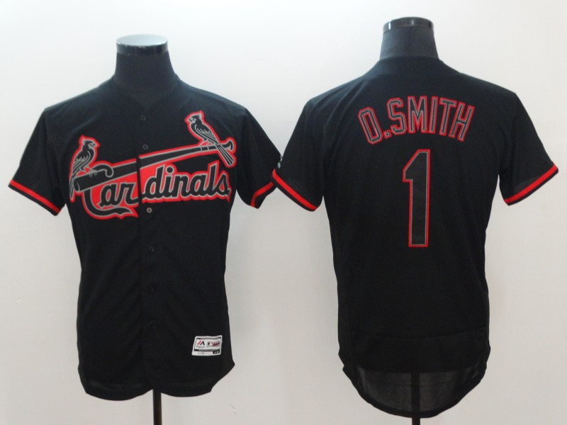 Cardinals 1 Ozzie Smith Black Flexbase Jersey