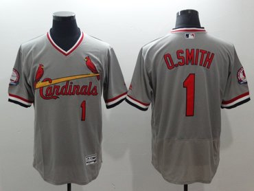 Cardinals 1 Ozzie Smith Grey Cooperstown Collection Flexbase Jersey
