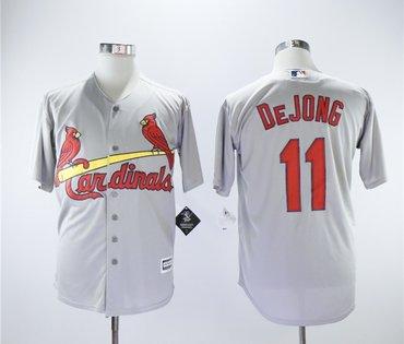 Cardinals 11 Paul DeJong Gray Cool Base Jersey
