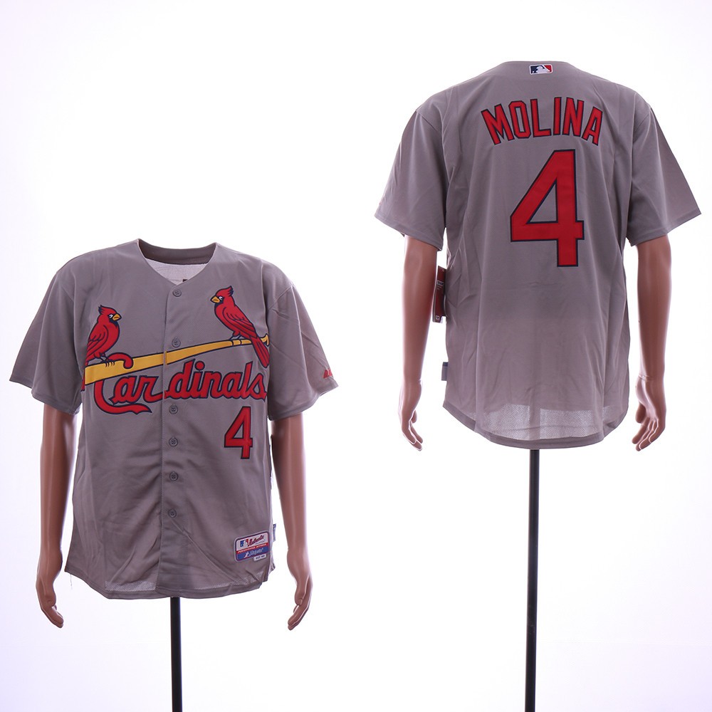 Cardinals 4 Yadier Molina Gray Flexbase Jersey