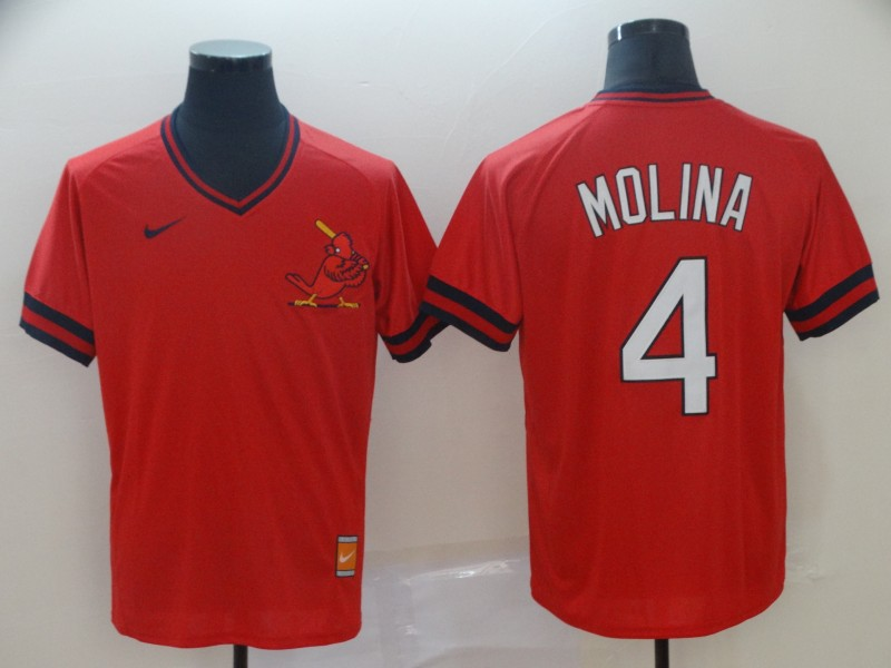 Cardinals 4 Yadier Molina Red Throwback Jersey