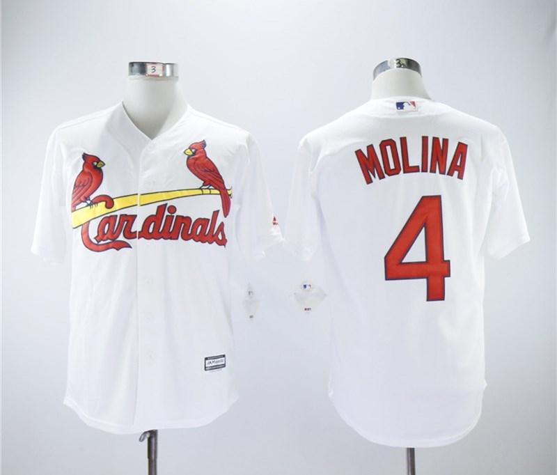 Cardinals 4 Yadier Molina White Cool Base Jersey