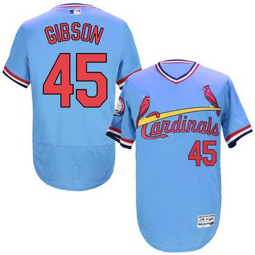 Cardinals 45 Bob Gibson Light Blue Cooperstown Flexbase Jersey