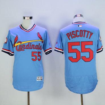 Cardinals 55 Stephen Piscotty Light Blue Cooperstown Flexbase Jersey
