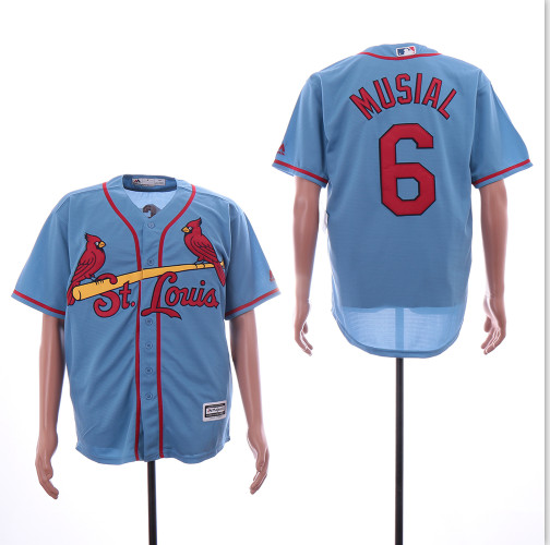 Cardinals 6 Stan Musial Light Blue Cool Base Jersey
