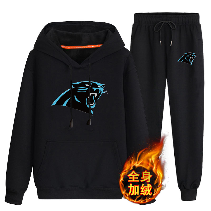 Carolina Panthers Black Men's Winter Thicken NFL Pullover Hoodie & Pant