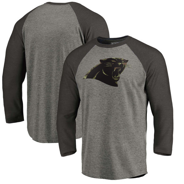 Carolina Panthers NFL Pro Line By Fanatics Branded Black Gray Tri Blend 34-Sleeve T-Shirt
