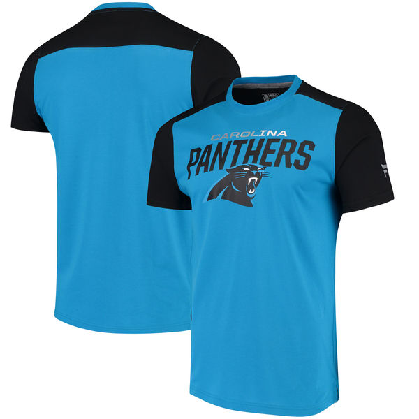 Carolina Panthers NFL Pro Line By Fanatics Branded Iconic Color Blocked T-Shirt Blue Black