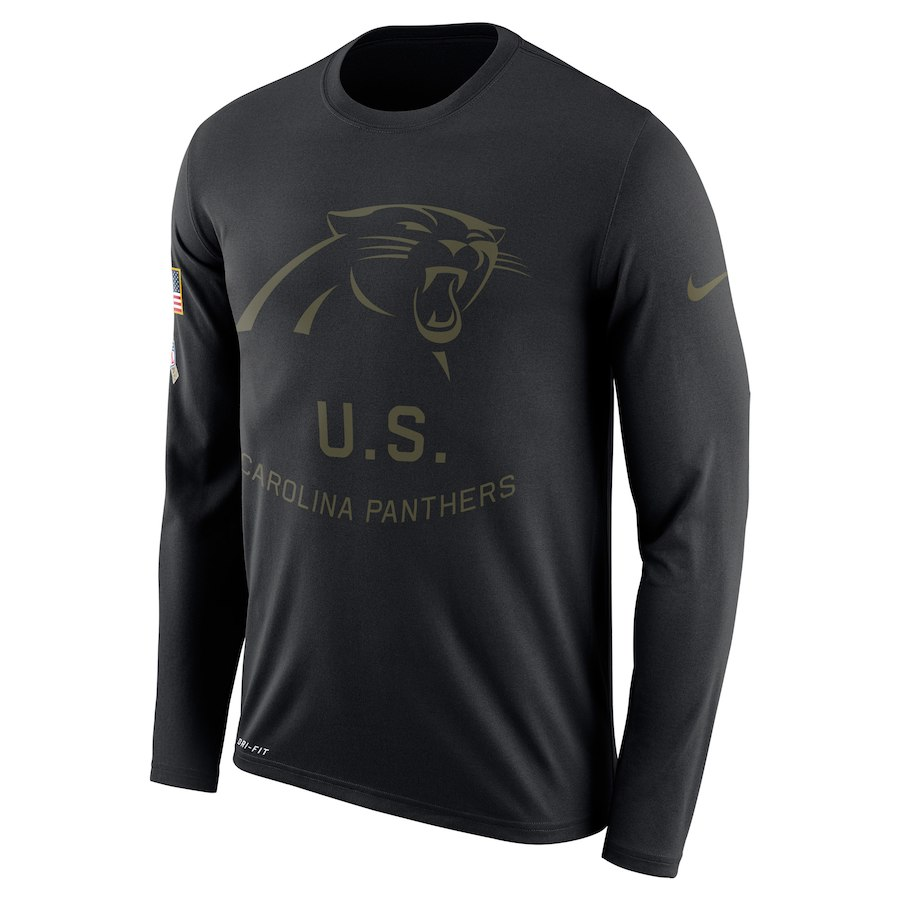 Carolina Panthers Nike Salute To Service Sideline Legend Performance Long Sleeve T-Shirt Black