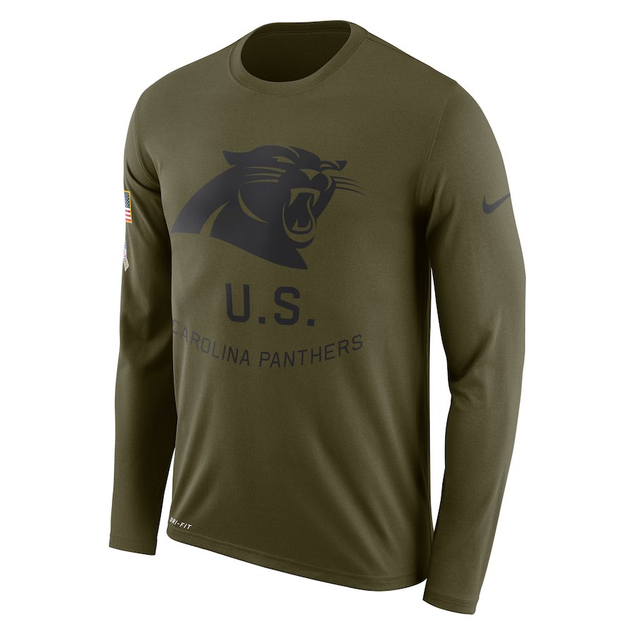 Carolina Panthers Nike Salute To Service Sideline Legend Performance Long Sleeve T-Shirt Olive