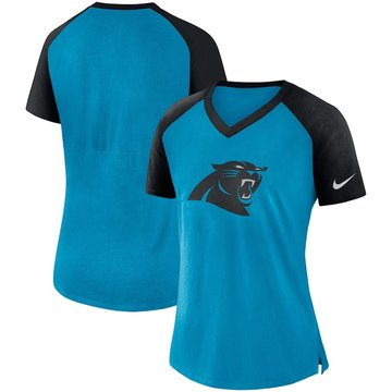 Carolina Panthers Nike Women's Top V Neck T-Shirt Blue Black