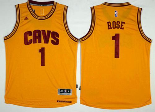 Cavaliers #1 Derrick Rose Gold Alternate Stitched NBA Jersey