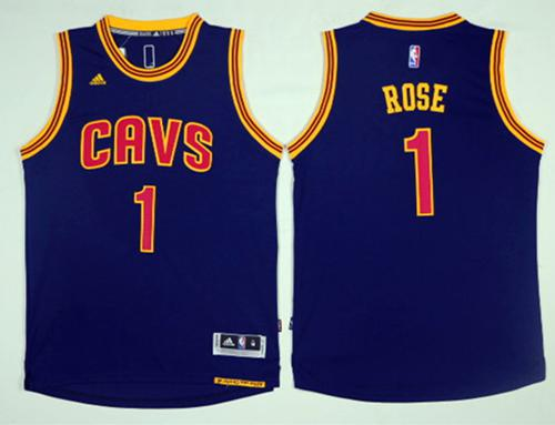 Cavaliers #1 Derrick Rose Navy Blue Alternate Stitched NBA Jersey