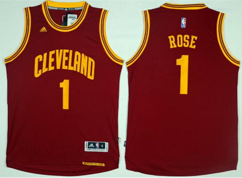 Cavaliers #1 Derrick Rose Red Road Stitched NBA Jersey