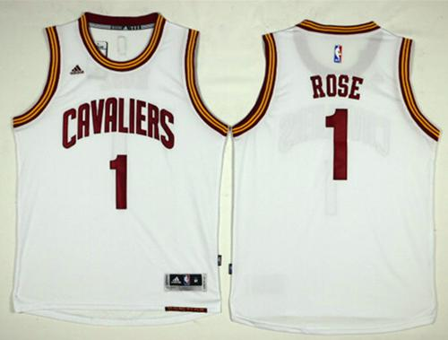 Cavaliers #1 Derrick Rose White Home Stitched NBA Jersey