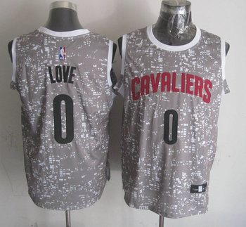 Cavaliers 0 Kevin Love Gray City Luminous Jersey