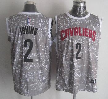 Cavaliers 2 Kyrie Irving Gray City Luminous Jersey