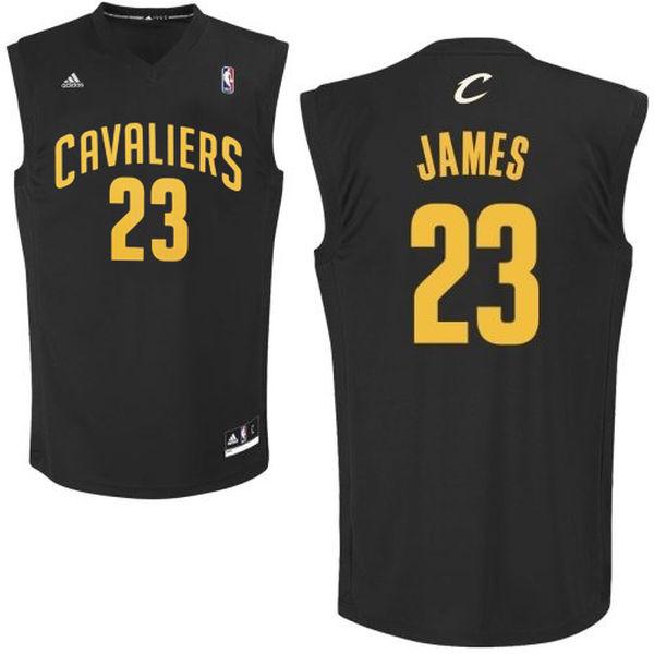 Cavaliers 23 LeBron James Black Fashion Replica Jersey