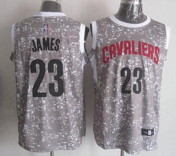 Cavaliers 23 LeBron James Gray City Luminous Jersey