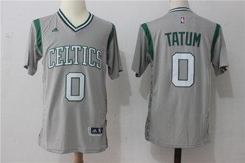 Celtics 0 Jayson Tatum Gray Pride Swingman Jersey