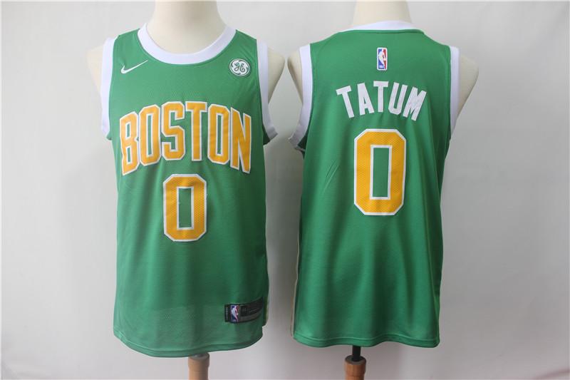 Celtics 0 Jayson Tatum Green 2018-19 Earned Edition Nike Swingman Jersey