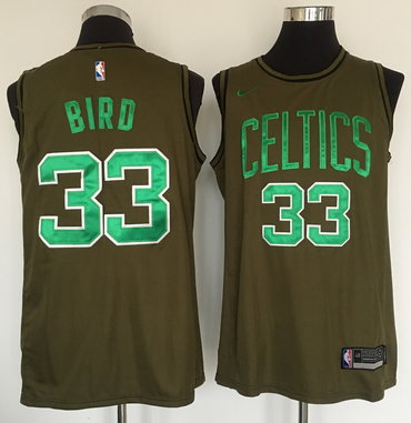 Celtics 33 Larry Bird Olive Nike Swingman Jersey