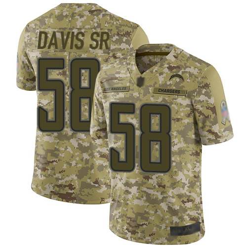 Chargers #58 Thomas Davis Sr Camo Men's Stitched Football Limited 2018 Salute To Service Jersey