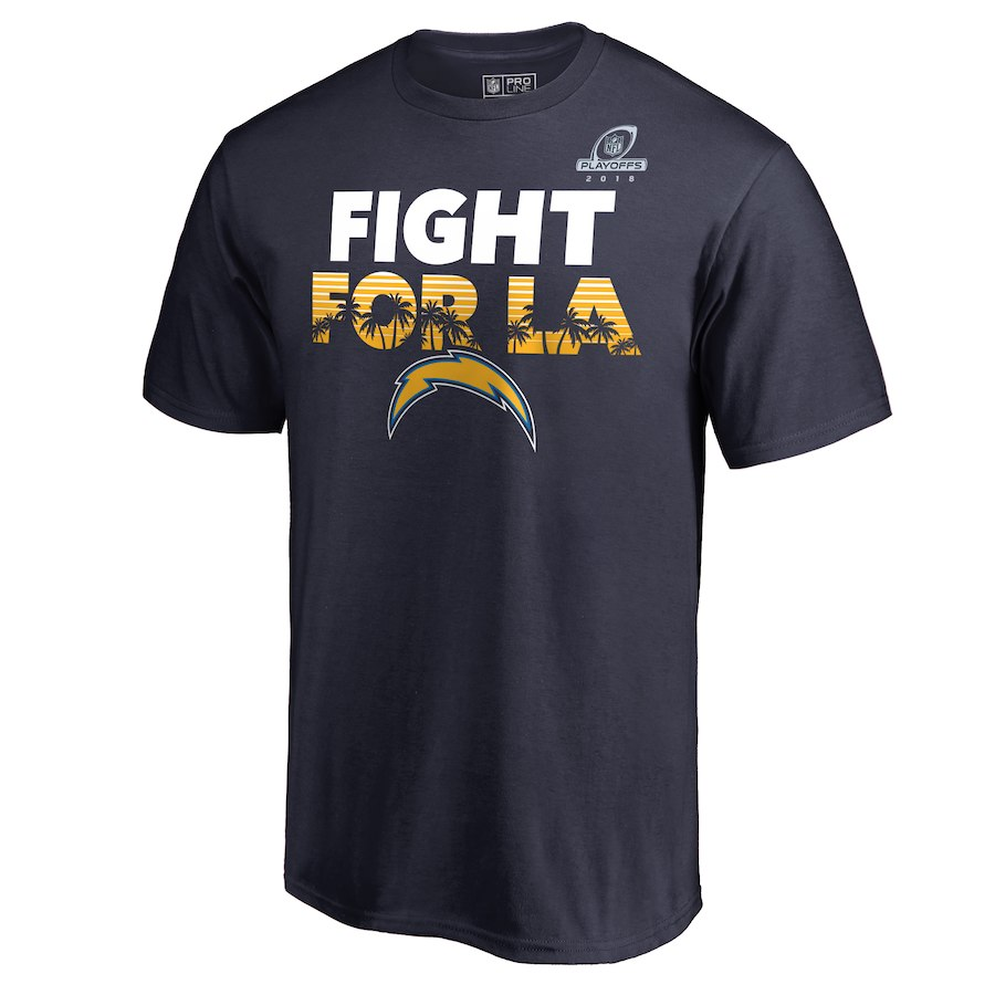 Chargers Navy 2018 NFL Playoffs Fight For LA Men's T-Shirt