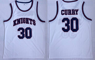 Charlotte Christian High School Knights 30 Stephen Curry White Basketball Jersey