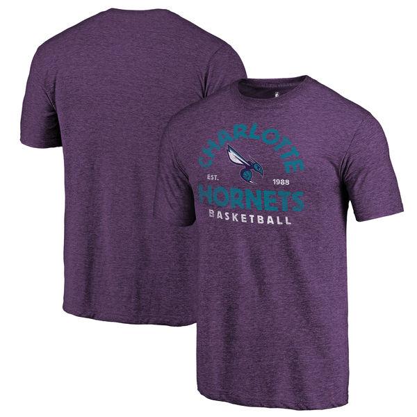 Charlotte Hornets Fanatics Branded Purple Vintage Arch Tri-Blend T-Shirt