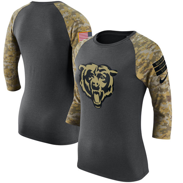 Chicago Bears Anthracite Salute to Service Women's Short Sleeve T-Shirt